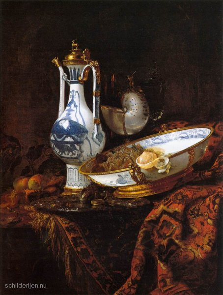 Still life with aquamanile, vegetables and a nautilus – Willem Kalff